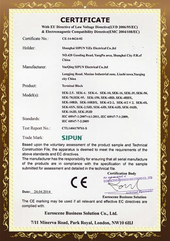 SEK series CE Certificates