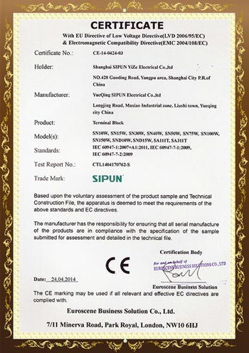 SN Series CE Certificates