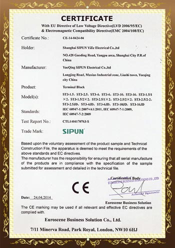 ST3 Series CE Certificates